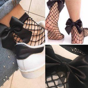 Women Girls Fishnet Ankle High Socks